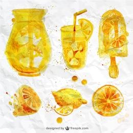 Jugo de limón de acuarela