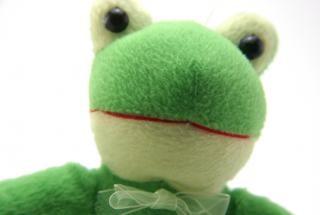 juguete de color verde suave y esponjosa, expresando