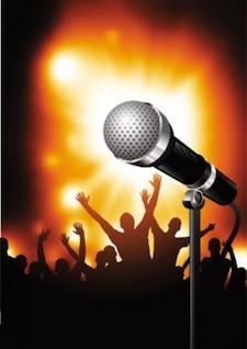 Karaoke ilustración vectorial con siluetas