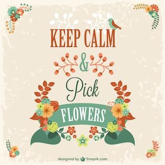 Vector mantén la calma y coge flores