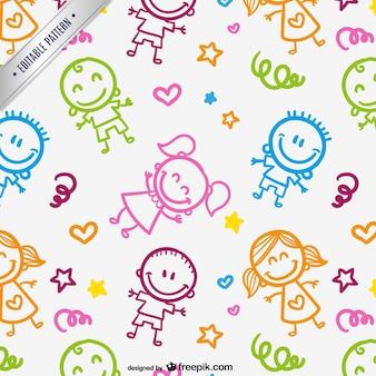 Patrón de niños dibujados