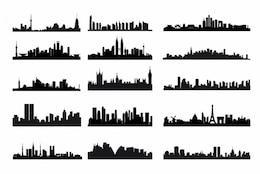 Kit horizonte de la ciudad siluetas vector