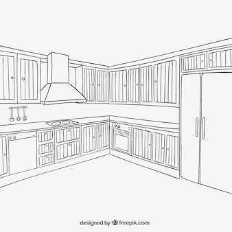 Interior de la cocina en estilo esbozado