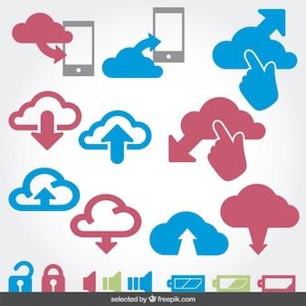La computación en nube y la bateria en iconos conjunto