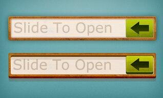 la madera de diapositivas marco a los botones abiertos