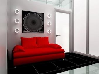 La moda habitación decorada vida material de imagen