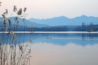 Lago con montañas de fondo