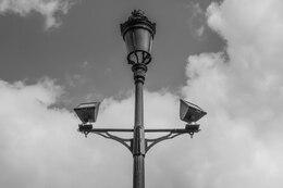 Lámpara de calle en blanco y negro