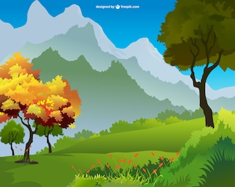 Vector de paisaje con montaña