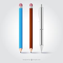 Lápices realistas y bolígrafo