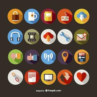 Gran colección de iconos redondos