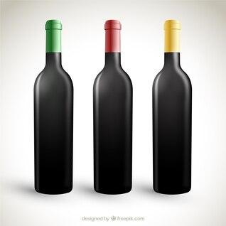 Las botellas de vino