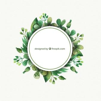 Las etiquetas con hojas de acuarela