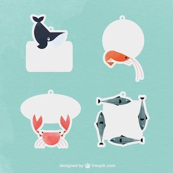 Las etiquetas con los animales de mar