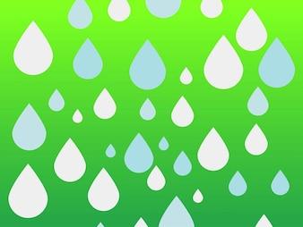 Las gotas de lluvia ilustración de fondo verde