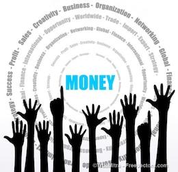 Las manos en alto conocimiento de los negocios