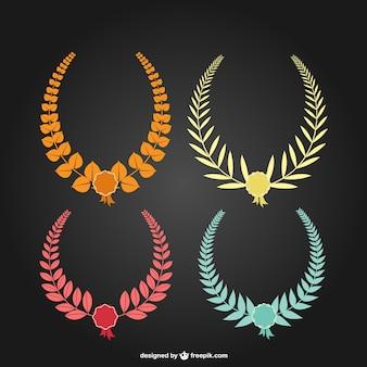 Coronas de laurel de colores