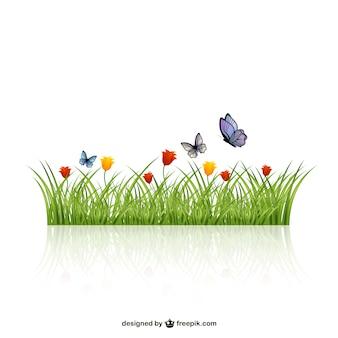 Hojas de hierba con mariposas