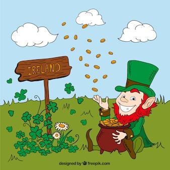 Leprechaun lanzando monedas en un prado