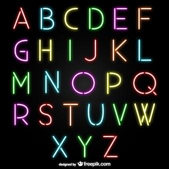 Letras del alfabeto de neón