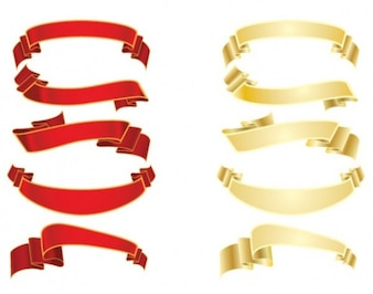 Libre de rojo y oro paquete de cintas bandera