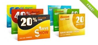 Libre PSD tarjetas de descuento de regalo