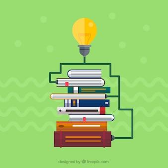 Libros de educación y bombilla