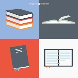 Libros en diferentes posiciones