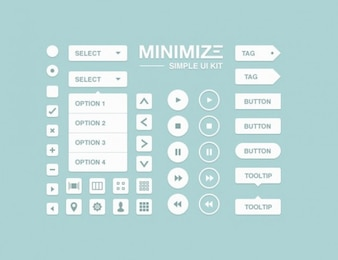 limpia, sencilla interfaz de usuario web kit de elementos de psd