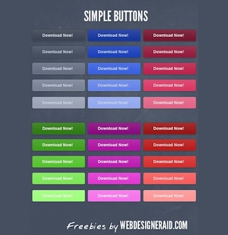 limpias botones de descarga nítidas paquete de psd