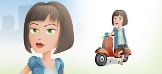 Linda chica en carácter de scooter vector