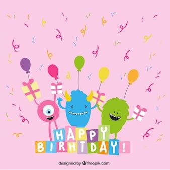linda felicitación de cumpleaños con los monstruos