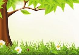 Lindo bosque de la primavera vector