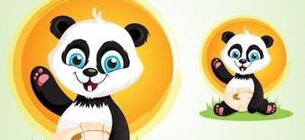 Lindo oso de panda de la historieta