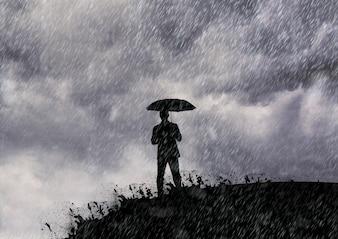 Línea de ganga salpicaduras firma lluvia