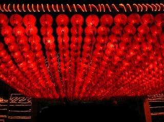 Linternas chinas templo