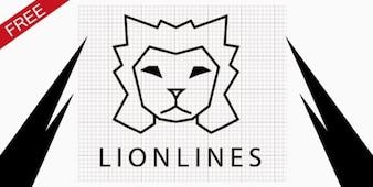 Líneas de león vector insignia de la plantilla