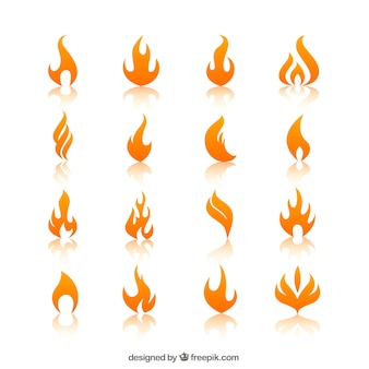 Llamas de fuego naranja