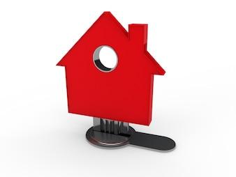 Llave con forma de casa roja en una cerradura