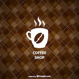 Logo de cafetería con fondo geométrico