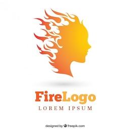 Logo de mujer con fuego