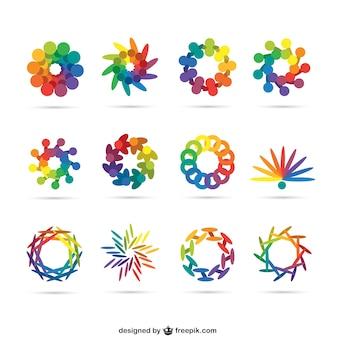 Logos abstractos en colores del arcoiris