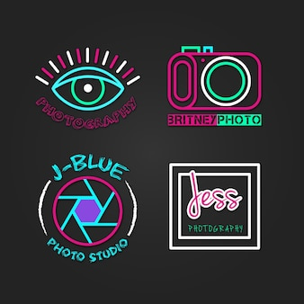 Logos coloridos de estudio de fotos