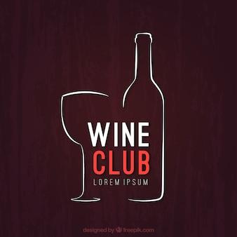 Logotipo esbozado de club de vino