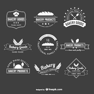 Logotipos de panadería en blanco y negro