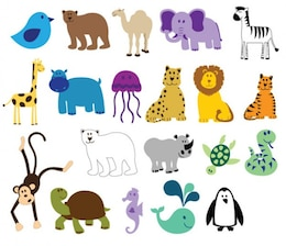 Los animales coloridos vectorial