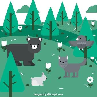 Los animales en el bosque