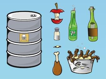 Los desperdicios de alimentos y el vector de botella de refresco
