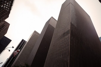 Los edificios altos en blanco y negro
