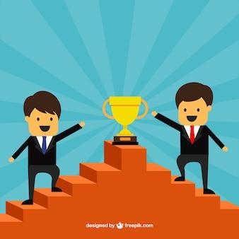 Los empresarios de éxito en la parte superior de una escalera